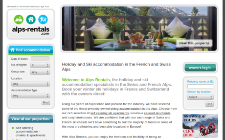 Screenshot of Alps Rentals.com home page