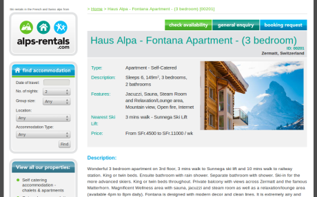 Screenshot of Alps Rentals.com property page
