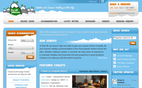 Screenshot of Big Hill Adventures.com home page