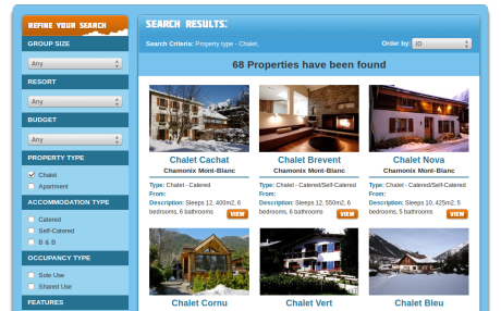 Screenshot of Big Hill Adventures.com property search page