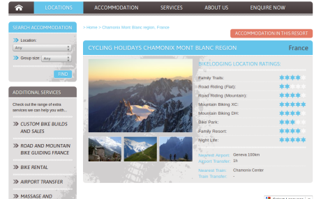 Screenshot of BikeLodging.com resort page