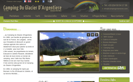 Screenshot of CampingChamonix.com home page in French