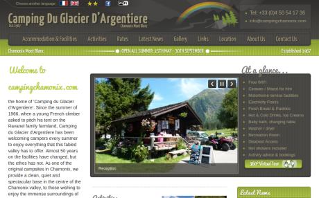 Screenshot of CampingChamonix.com home page in English