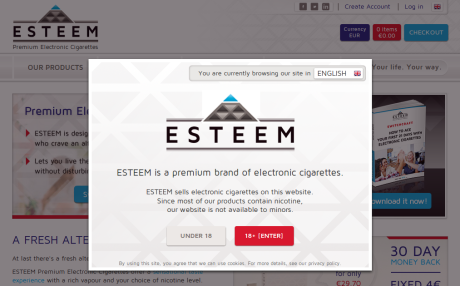 Screenshot of EsteemPremium.com age verification pop-up