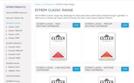 Screenshot of EsteemPremium.com product list page