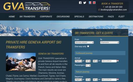 Screenshot of GVATransfers.com home page