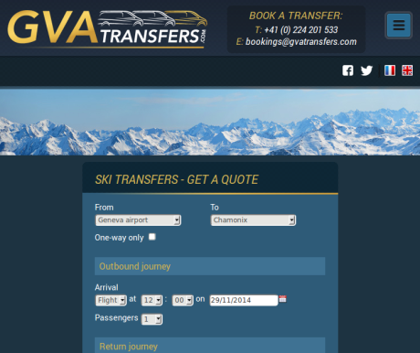 Screenshot of GVATransfers.com at medium width