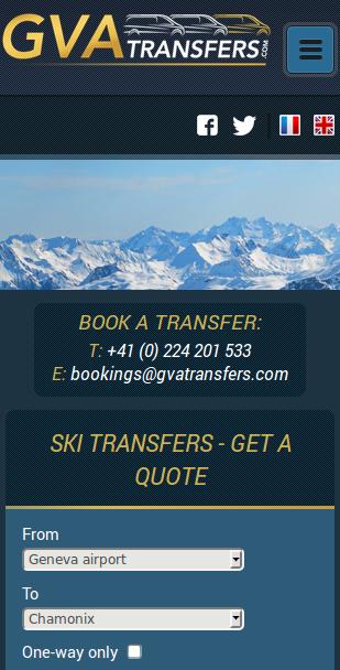 Screenshot of GVATransfers.com at narrow width