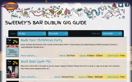 Screenshot of SweeneysDublin.ie gigs page