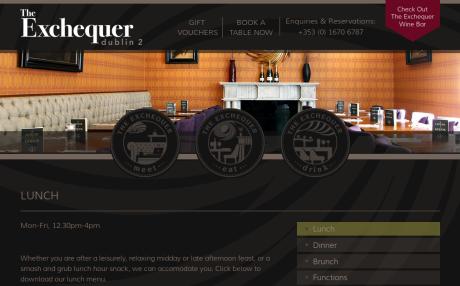 Screenshot of TheExchequerDublin2.ie menu page
