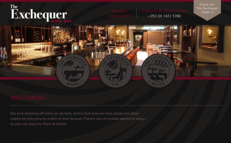 Screenshot of TheExchequerWineBar.ie multimedia page