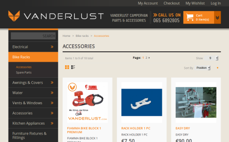 Screenshot of Vanderlust.com Reskin - Magento shop
