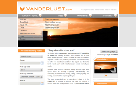 Screenshot of Vanderlust.com - The old home page